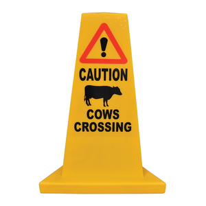 Traffic cone sign Cows Crossing
