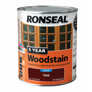 Ronseal 5 year Woodstain Satin Teak 750ml