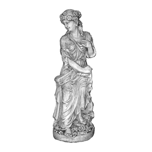 Flower Lady Sitting Stone Cast Statue