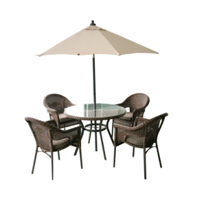 Roma 4 Seater Dining Set and Parasol