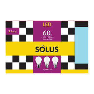 Solus B22 LED 60W Non Dimm 3 Pack